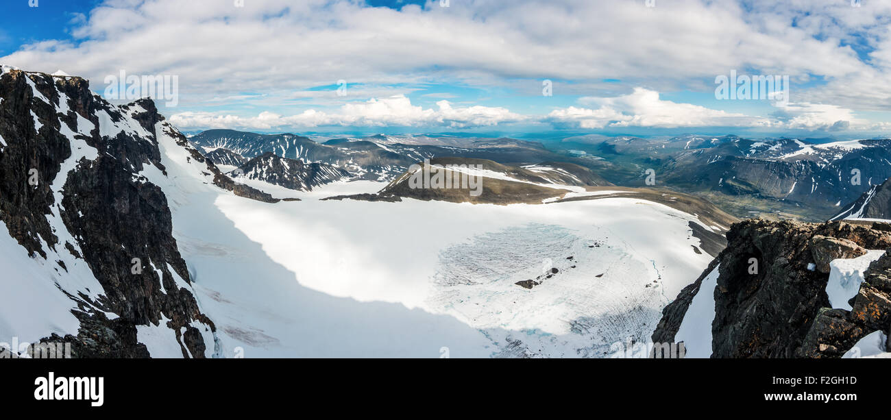 View down from the slopes of Kebnekaise. - Stock Image