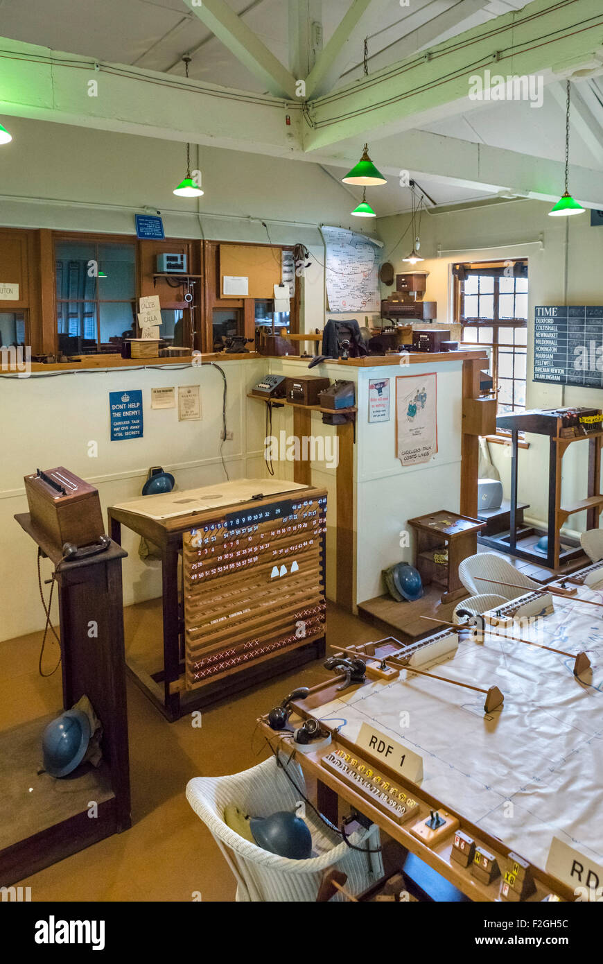 The 1940 Operations Room at the Imperial War Museum, Duxford, Cambridgeshire, England, UK - Stock Image
