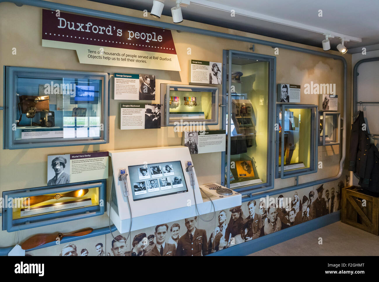 'Historic Duxford', a display commemorating those who served at RAF Duxford, Imperial War Museum, Duxford, - Stock Image