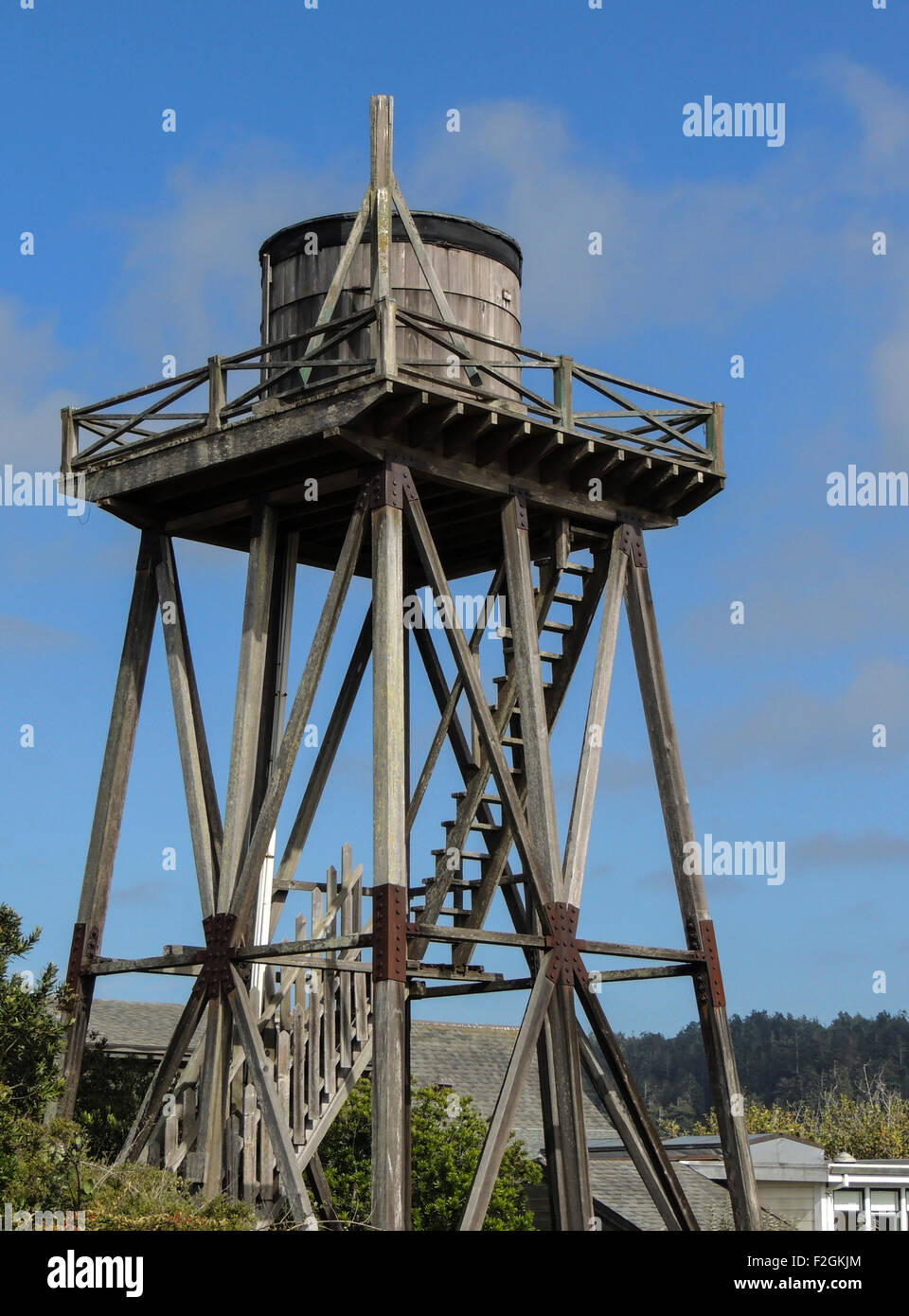 Wooden water towers like this one, many dating from the 1850's, are a common sight in the Town of Mendocino, - Stock Image