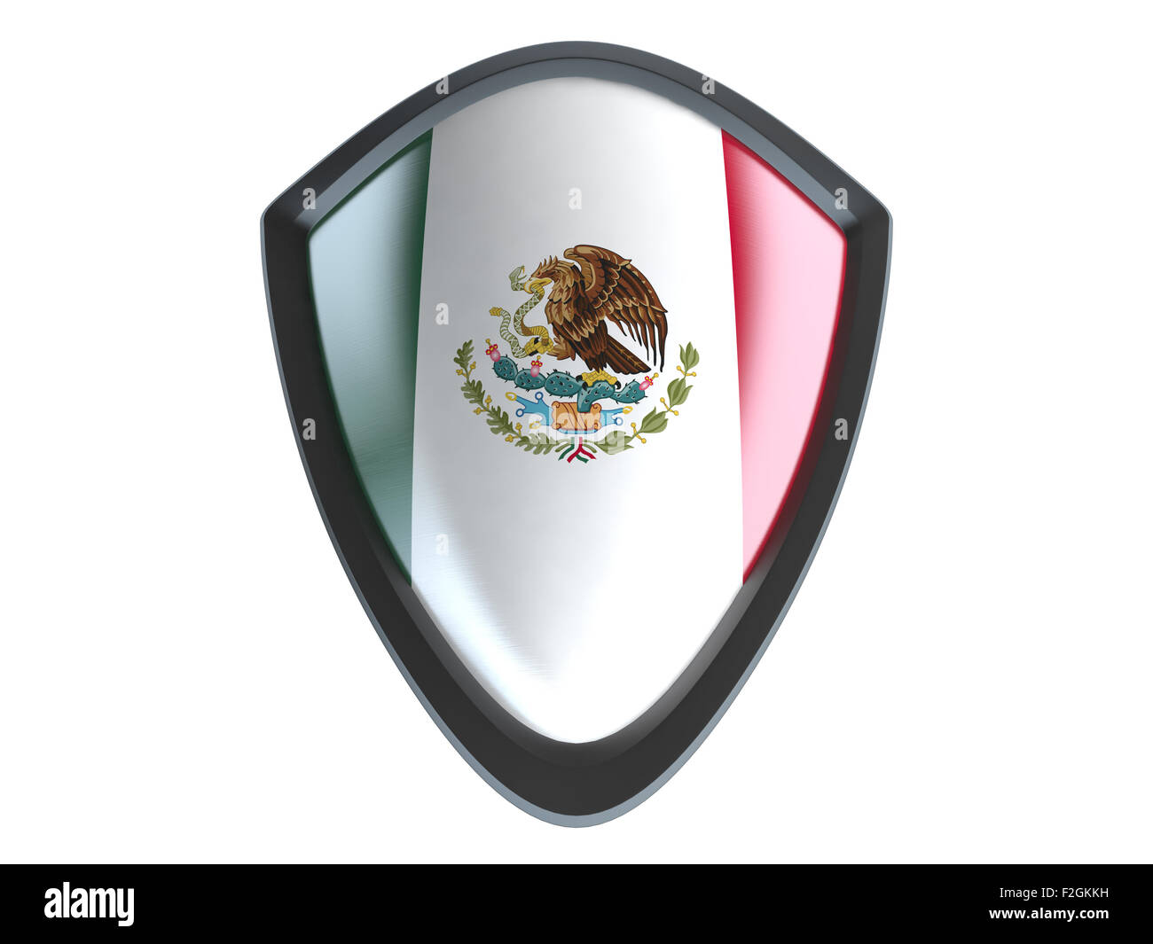 Mexico flag on metal shield isolate on white background. - Stock Image