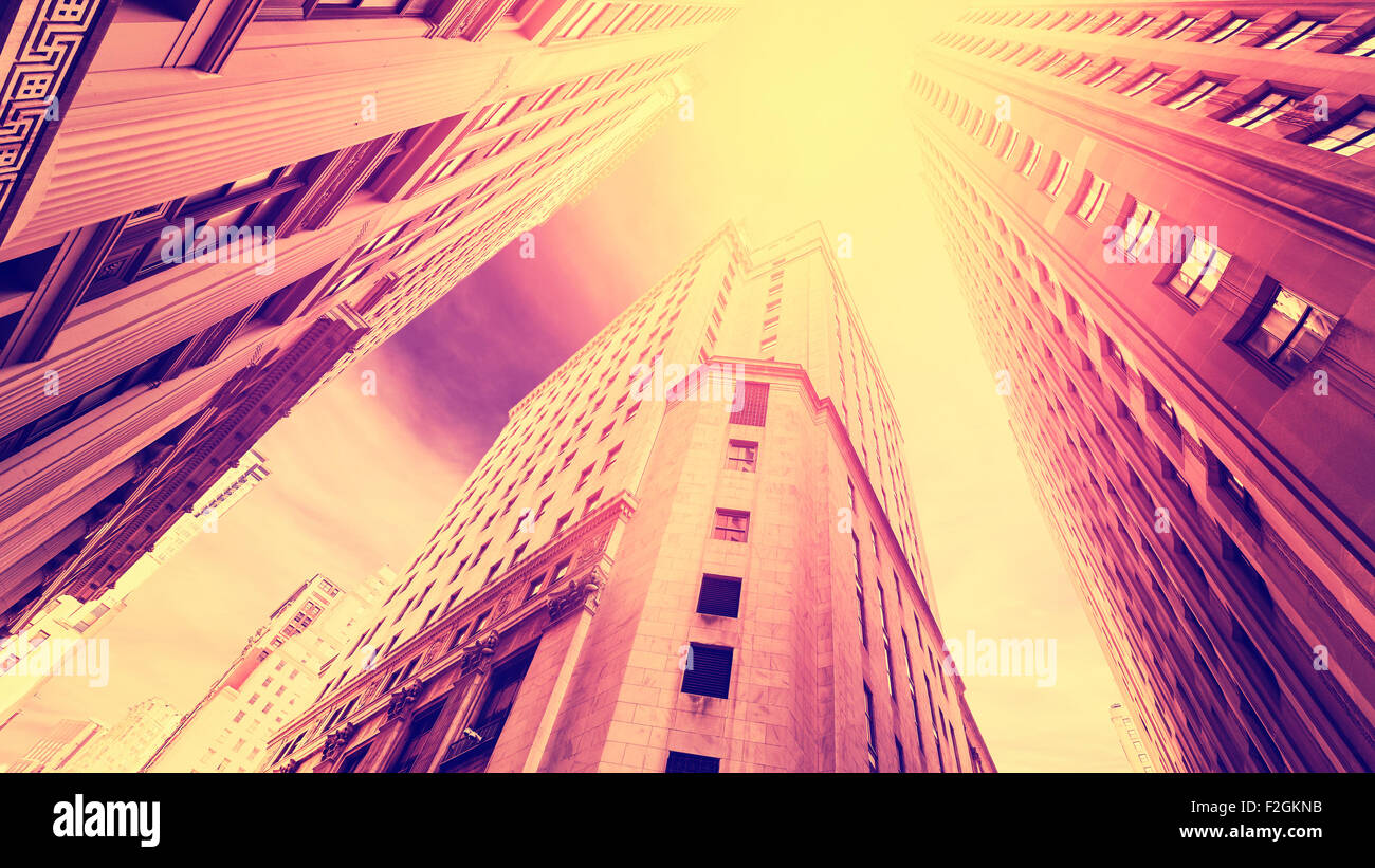 Vintage filtered photo of skyscrapers in Manhattan at sunset, New York City, USA. - Stock Image