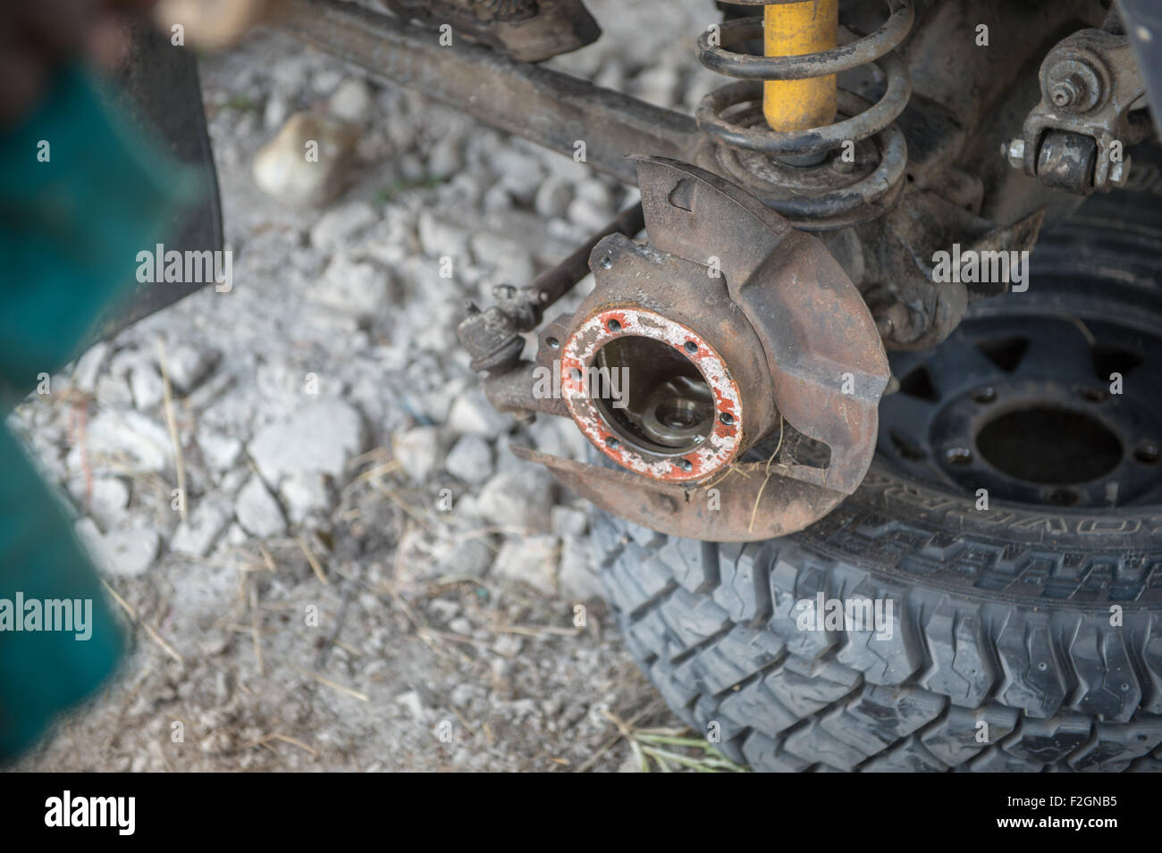 Close up of the undercarriage of a Land Rover in Botswana, Africa - Stock Image