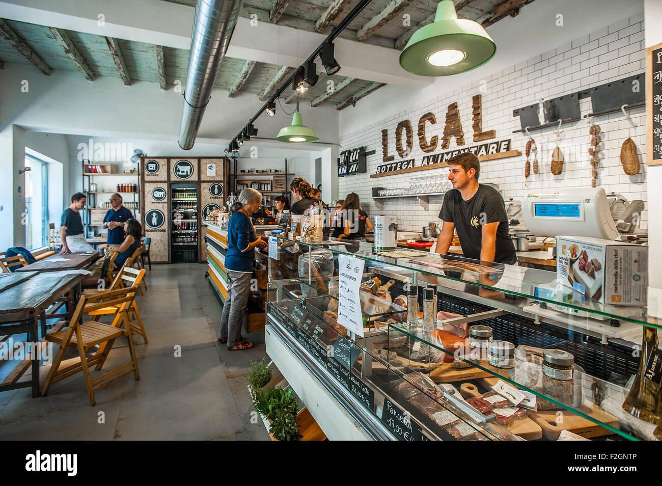 Italy Piedmont Bra 18th September 2015 - ' La bottega Alimentare ' - Stock Image