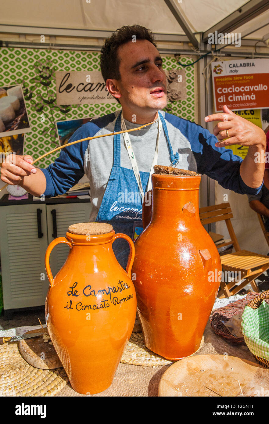 Italy Piedmont Bra 18th September 2015 the fair 'Cheese'- Conciato Romano - ( Lazio ) - Slow Food Presidium - Stock Image