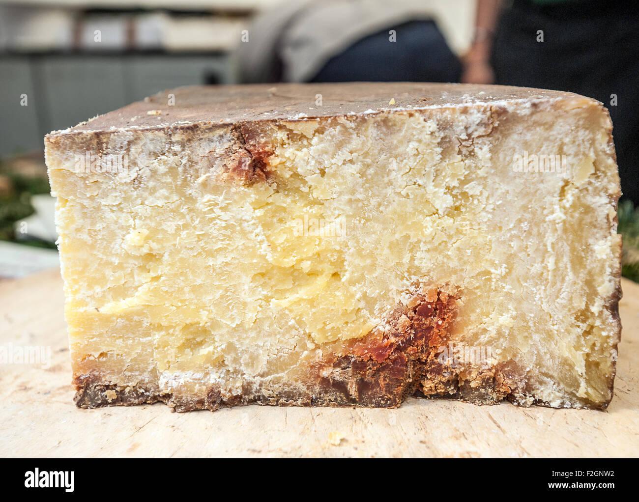 Italy Piedmont Bra 18th September 2015 the fair 'Cheese'- Bagoss Bagolino ( Lombardy ) - Slow Food Presidium - Stock Image