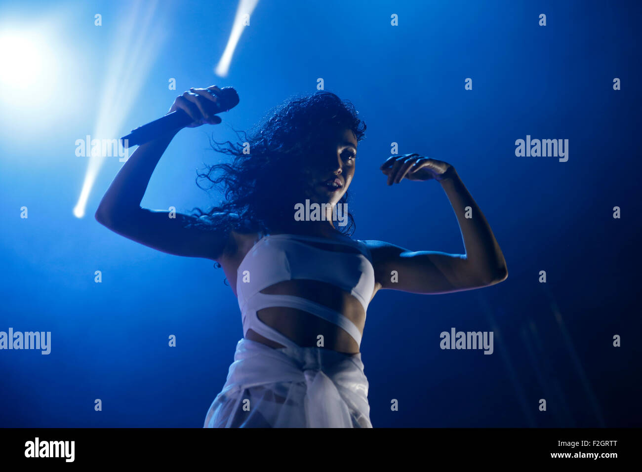 British singer Tahliah Debrett Barnett, known by the stage name FKA twigs, performs live during Sonar advanced music - Stock Image