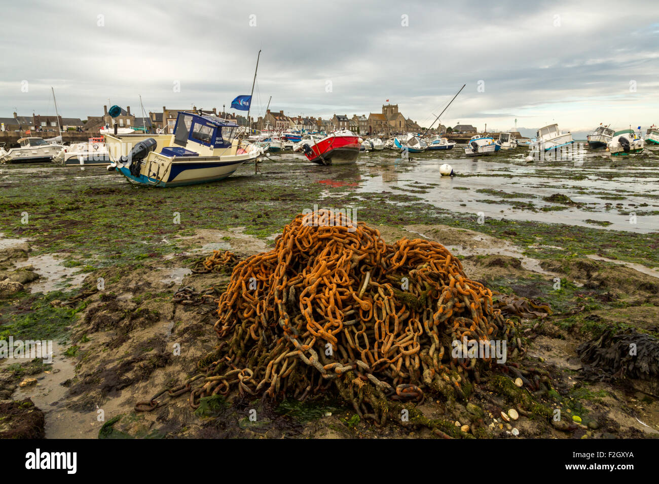 Low tide at Barfleur, France Stock Photo