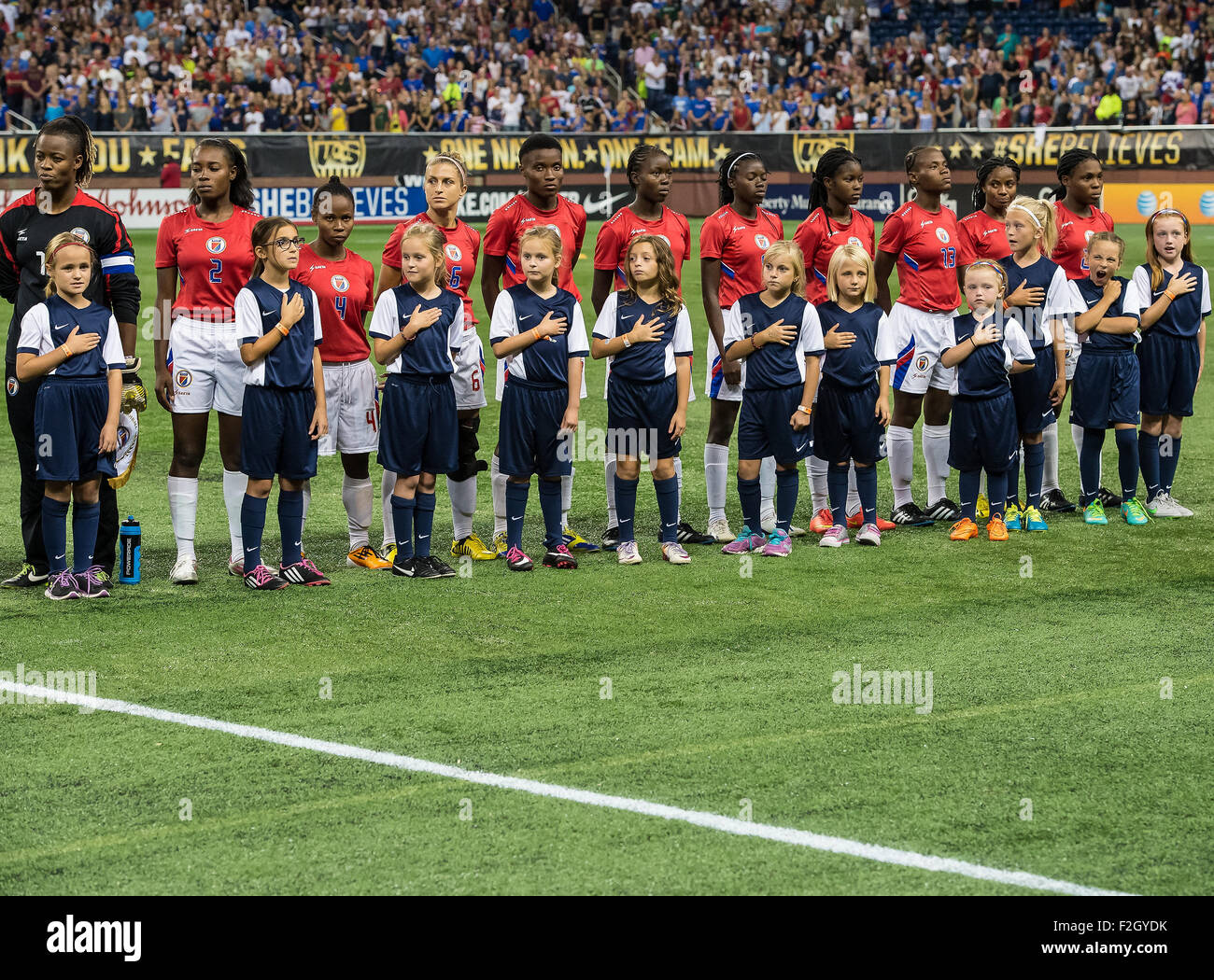 Detroit, Michigan, USA. 17th Sep, 2015. Team Haiti stands during the national anthem before the International Friendly - Stock Image