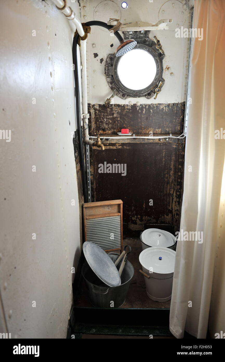 Portsmouth Hampshire UK - Shower wash room on HMS M.33 a Monitor warship at the Historic Dockyard - Stock Image