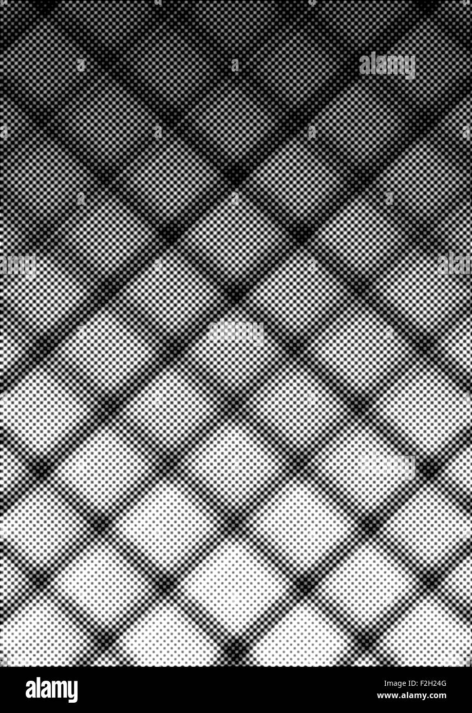 Abstract halftone rhombuses shape background with black and white shades - Stock Image