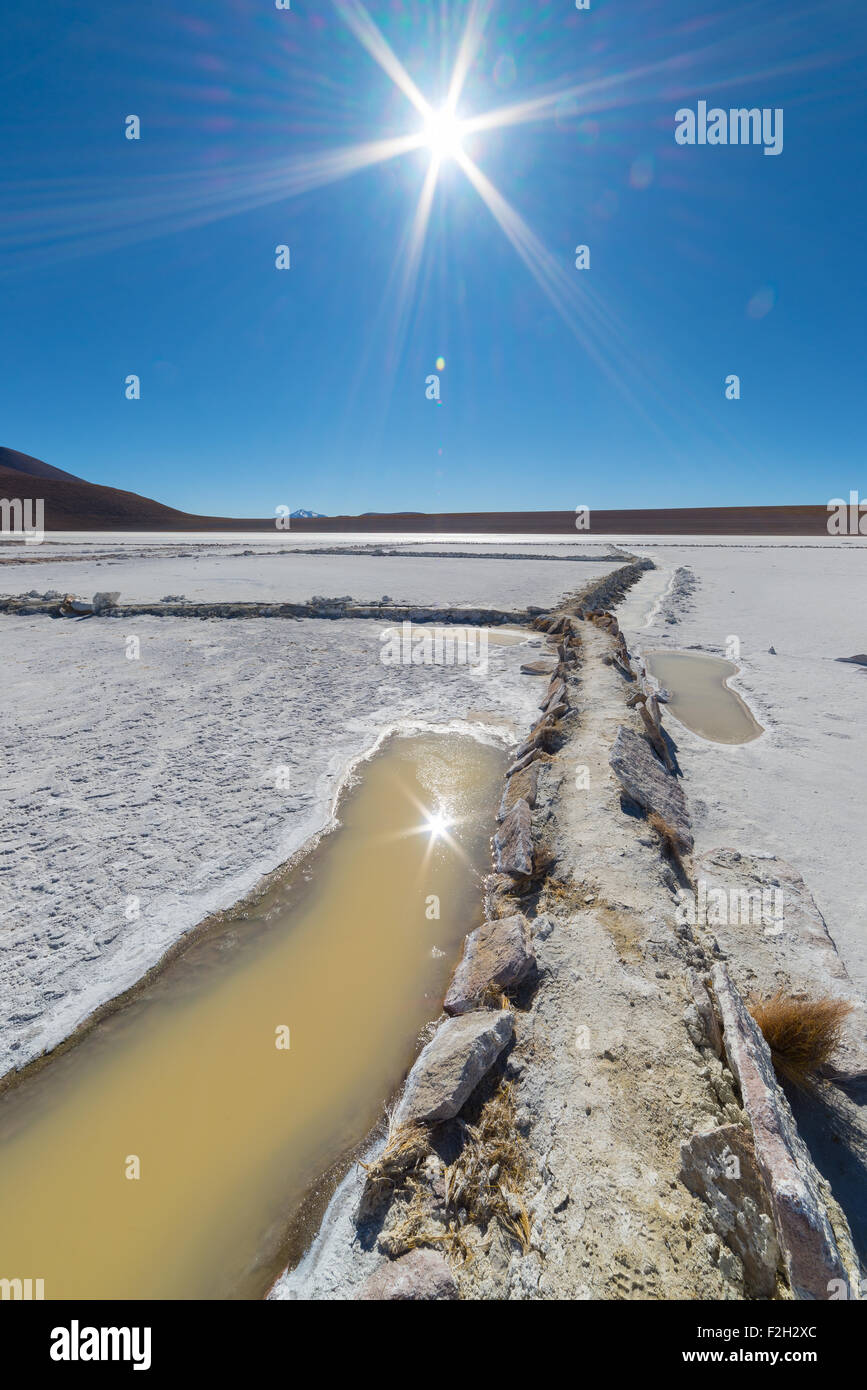 Wide angle view of a salt basin ('Salar de Chalviri') in backlight on the way to the famous Uyuni Salt Flat, - Stock Image