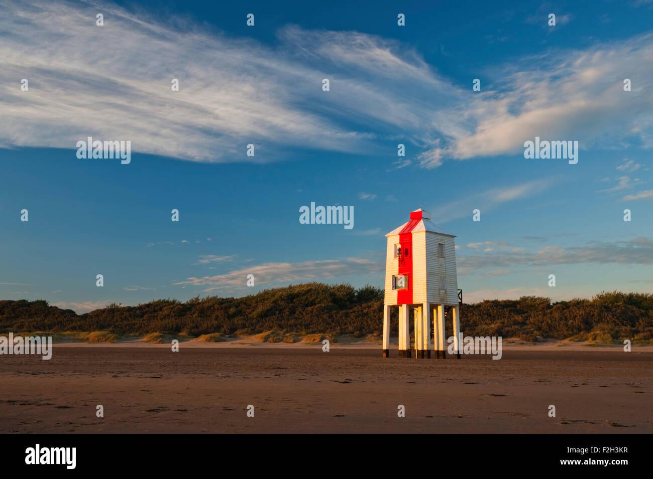 Wooden lighthouse on the Beach at Burnham on Sea, Somerset, England, UK - Stock Image