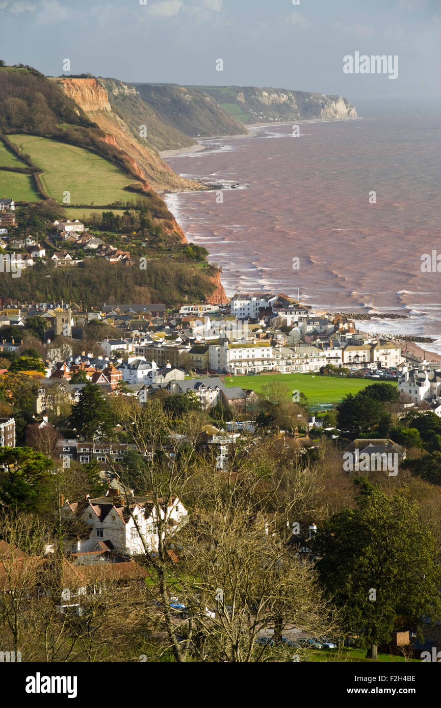 View across Sidmouth and along the Jurassic Coast of Devon, England, UK - Stock Image