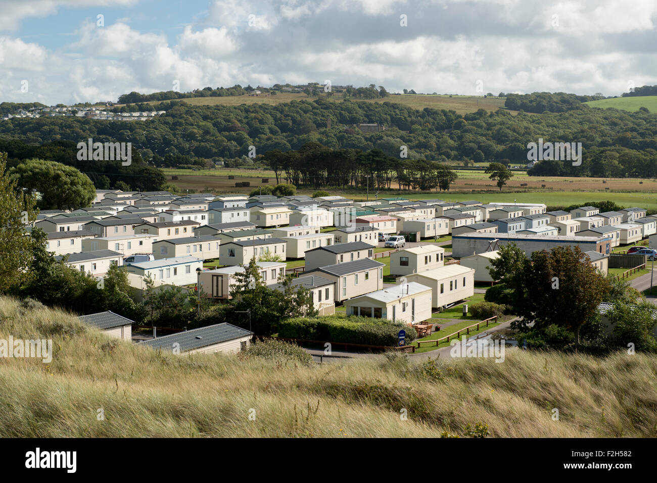 The site of Presthaven Sands caravan park at Gronant in Flintshire, close to Prestatyn in Denbighshire. - Stock Image