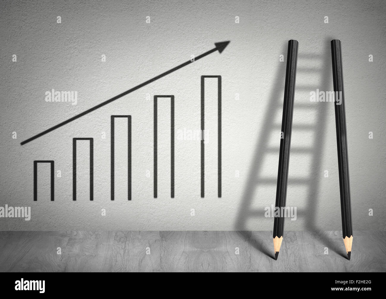 success creative concept, Ladder from pencils - Stock Image
