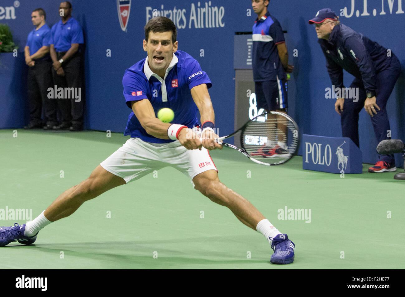Novak Djokovic (SRB) winner of the Men's Final at the  2015 US Open Tennis - Stock Image