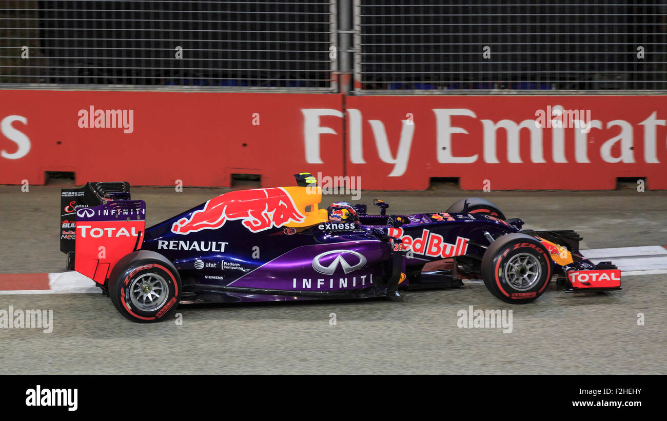 Singapore, SINGAPORE, 19 September 2015. Daniil Kvyat (of Russia and Infiniti Red Bull Racing) claimed fourth position - Stock Image
