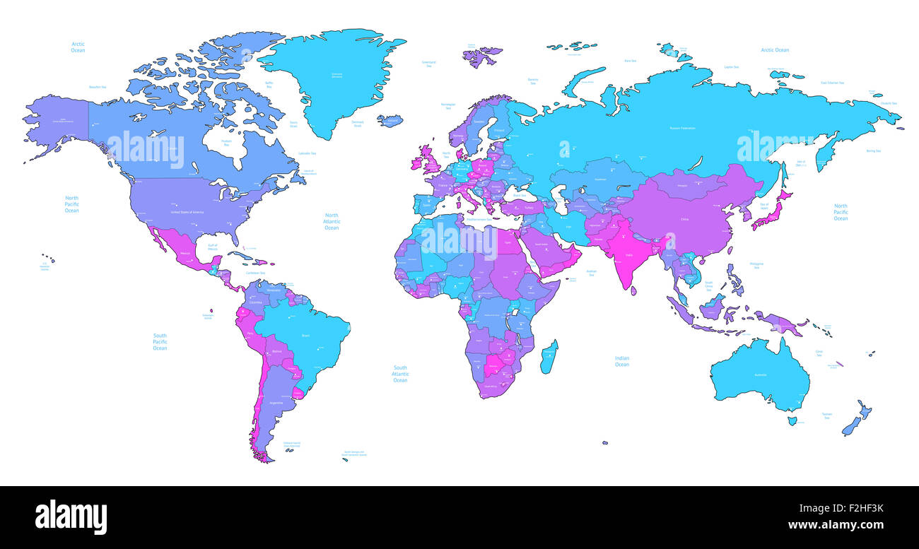 Detailed World Map Of Blue Pink Violet Colors Stock Photo