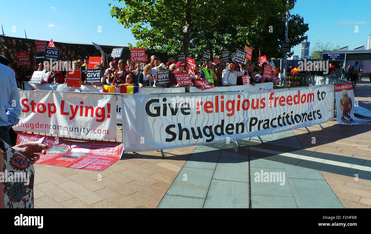 Dalai Lama Protest. Crowds in London protest against the Dalai Lama for religious freedom outside the O2 arena before - Stock Image