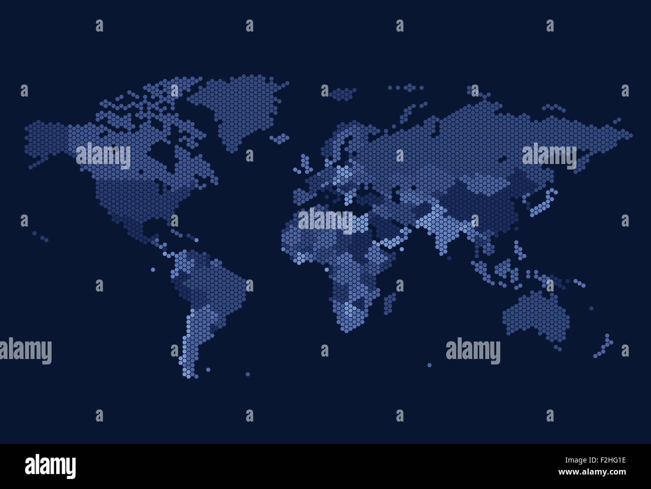 Grid world map on blue stock photos grid world map on blue stock dotted world map of hexagonal dots on dark background stock image gumiabroncs Gallery