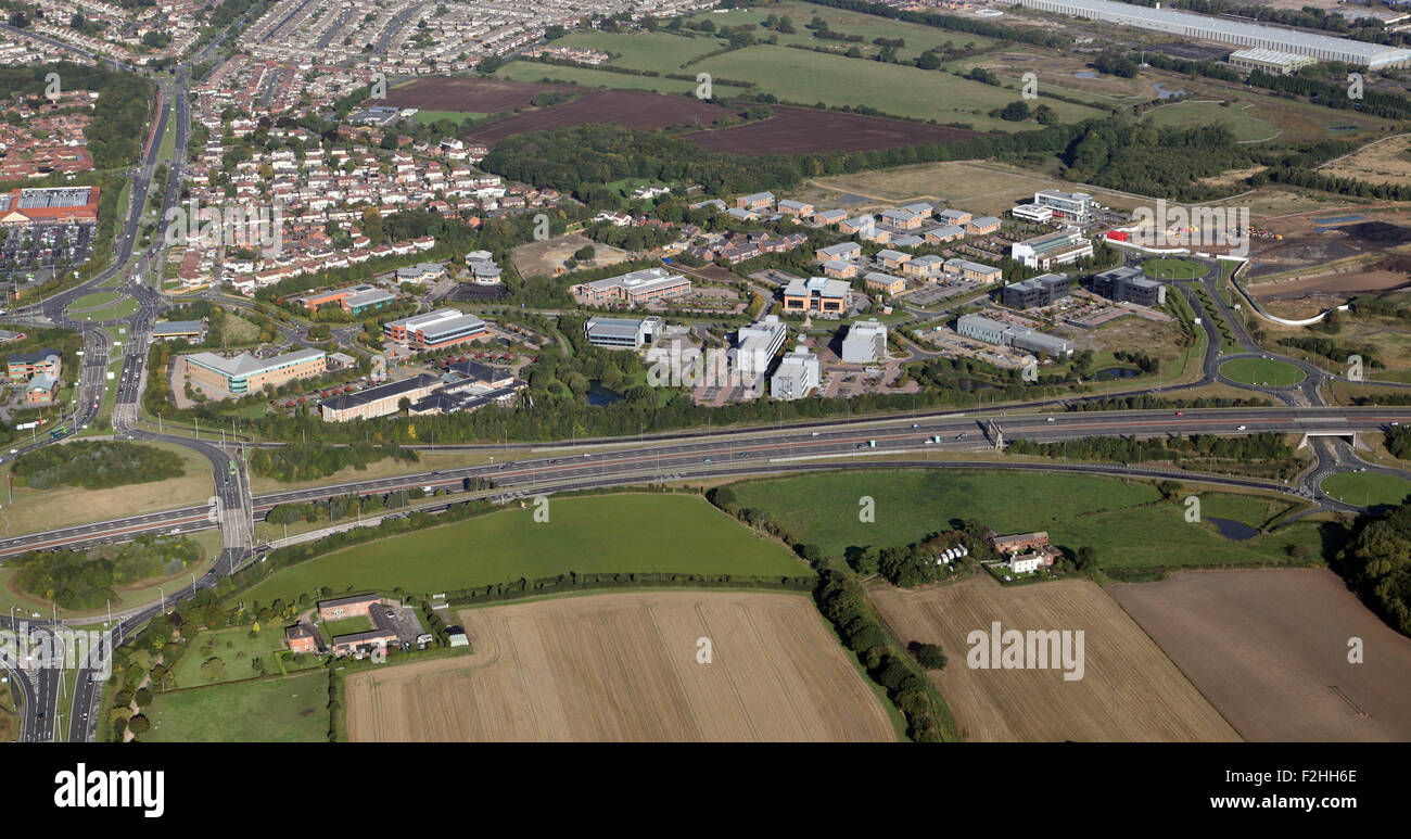 aerial view of Thorpe Park Business Park, east of Leeds, West Yorkshire, UK - Stock Image