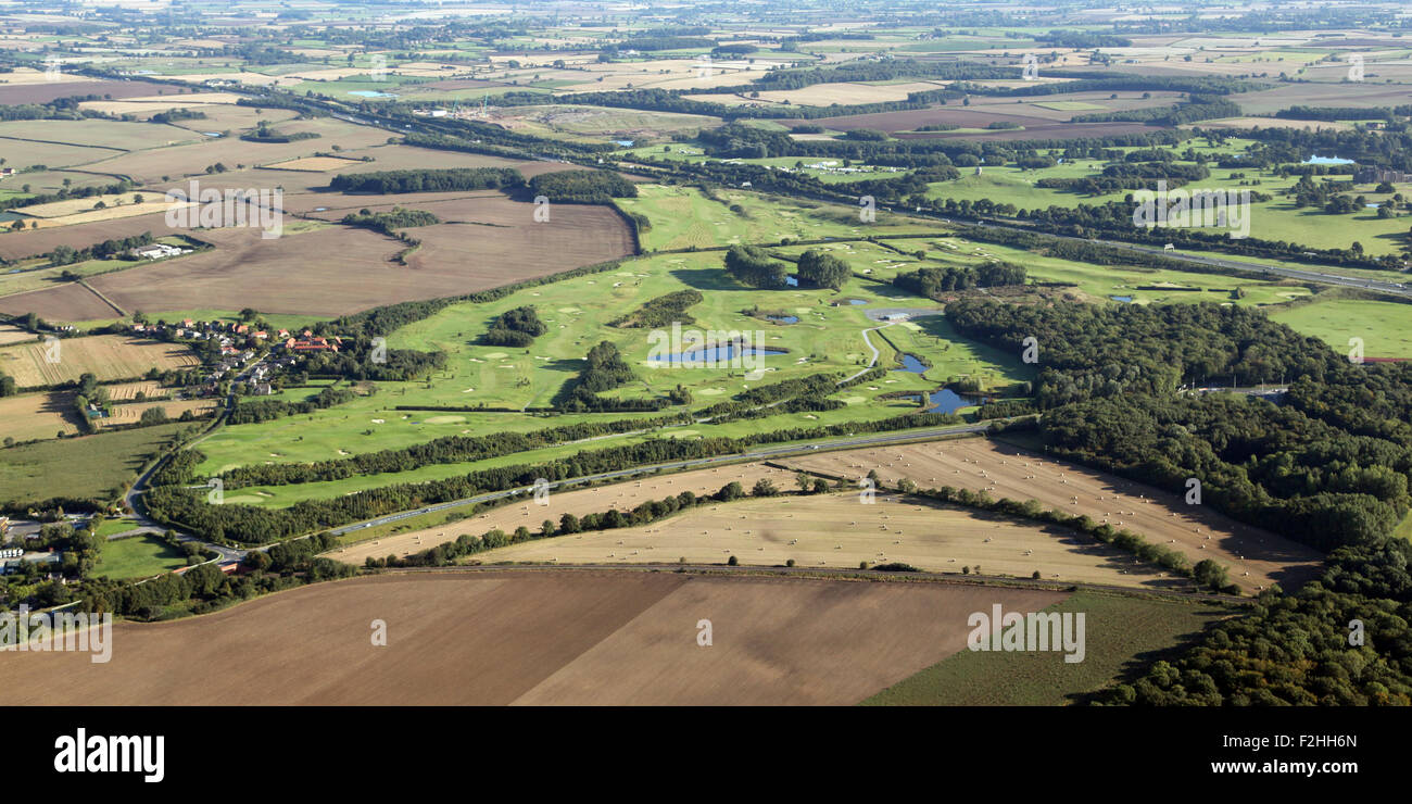 aerial view of Flaxby Park Golf Course, near Harrogate, North Yorkshire, UK - Stock Image