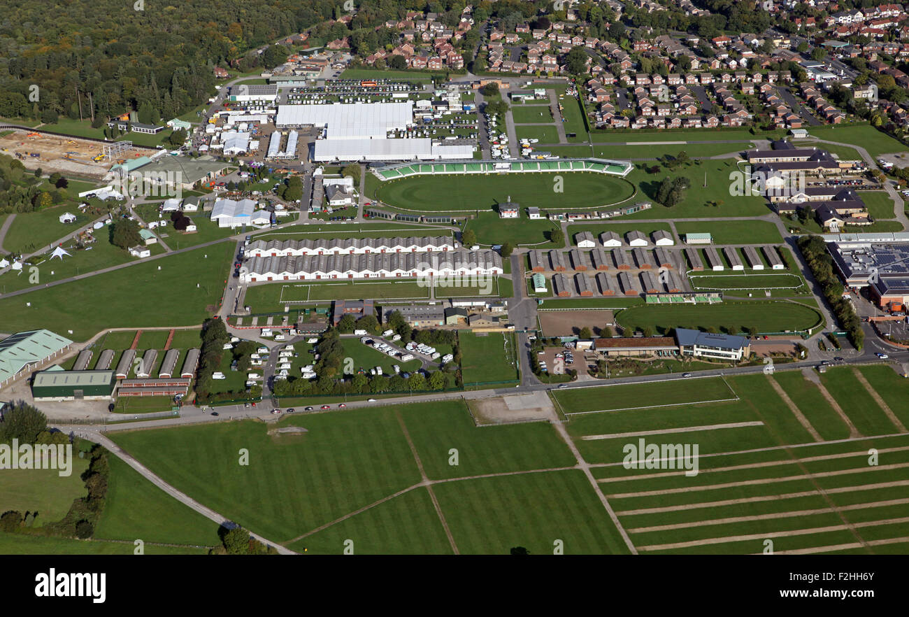 aerial view of The Great Yorkshire Showground in Harrogate, UK - Stock Image