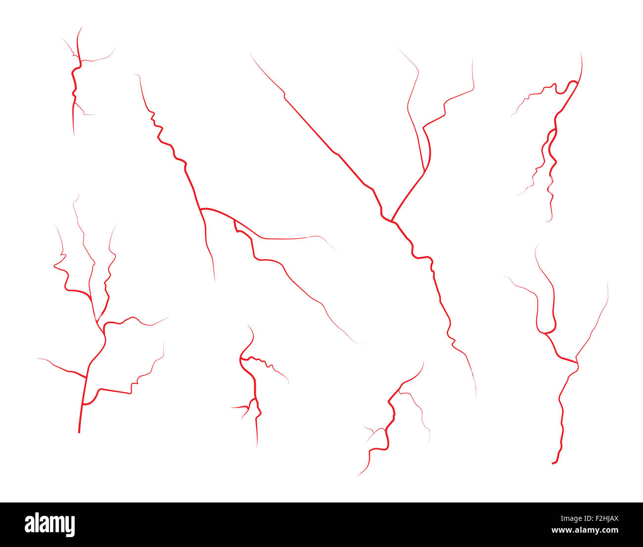 Set of human eye veins, red blood vessels, blood system.  Vector illustration isolated on white background - Stock Image