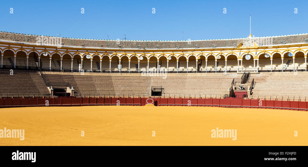 The Plaza de Toros de la Real Maestranza de Caballería de Sevilla is the oldest bullring in the world. - Stock Image