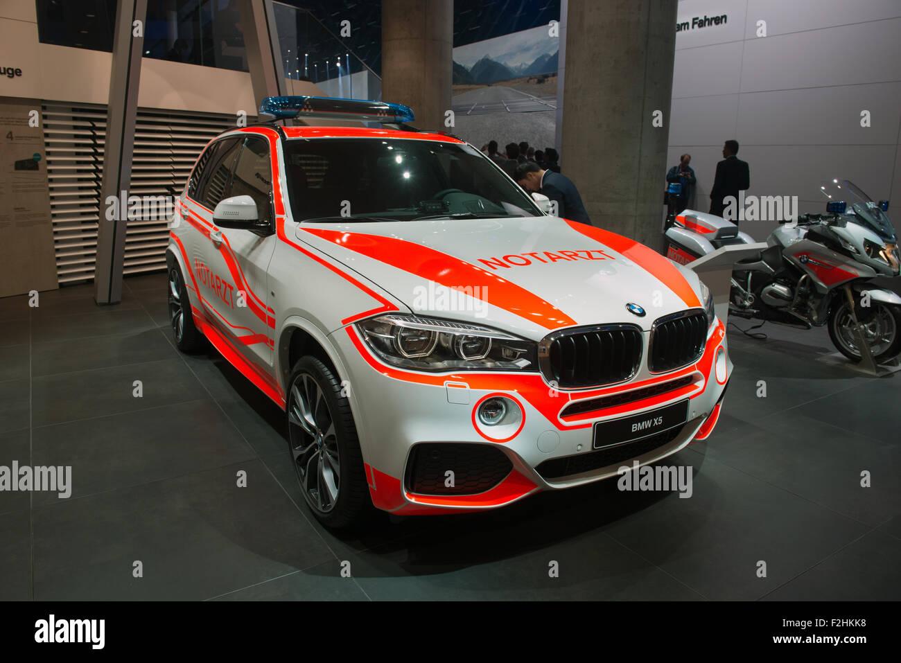 Frankfurt international motor show (IAA) 2015. BMW X5 Emergency version - Stock Image