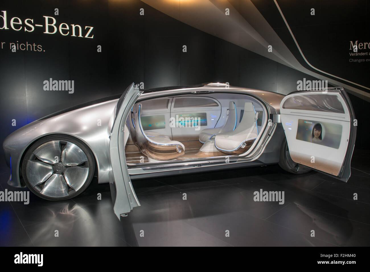 Frankfurt international motor show (IAA) 2015. Mercedes-Benz F 015 Concept car- world premiere - Stock Image