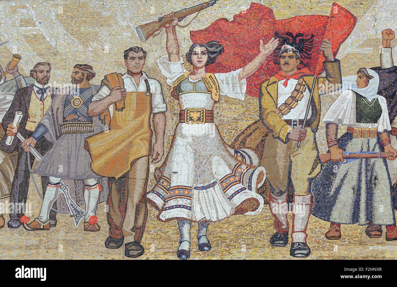 The Albanians mosaic on the front of the Albanian National Historical Museum, Muzeu Historik Kombëtar, in Tirana. - Stock Image