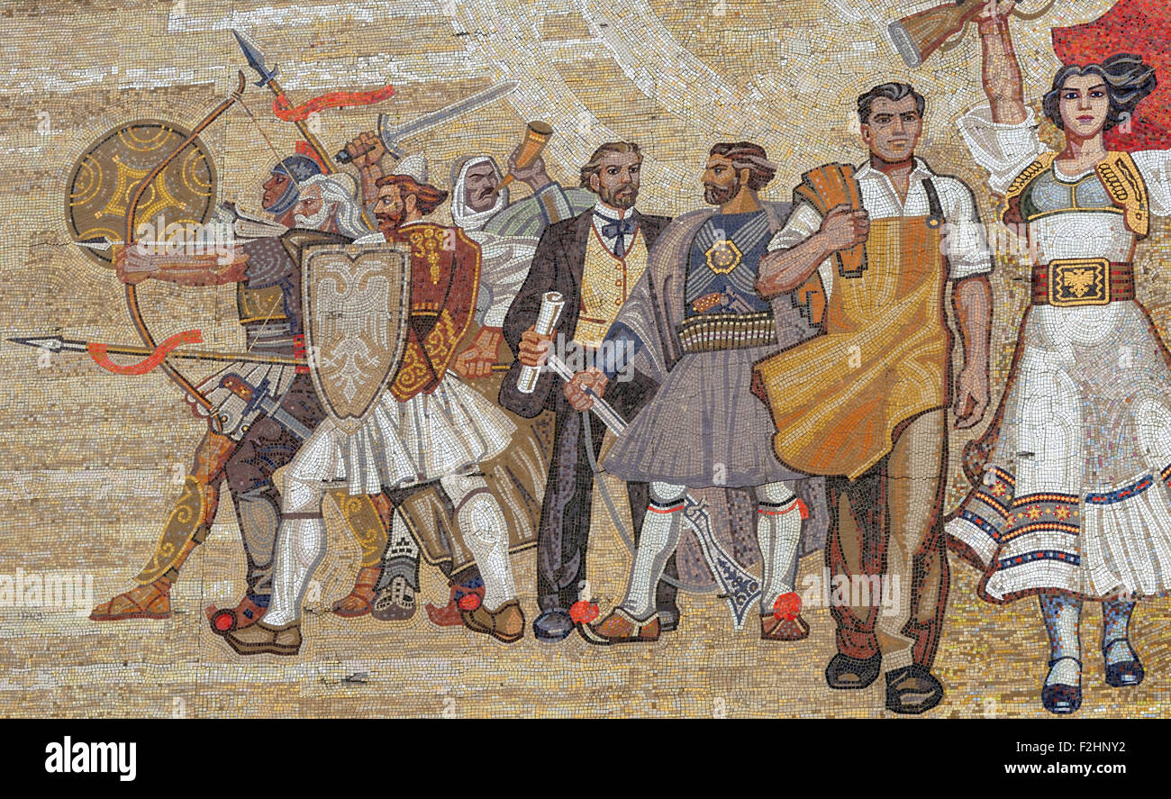 The Albanians mosaic on the front of the Albanian National Historical Museum, Muzeu Historik Kombëtar, in Tirana. - Stock Image