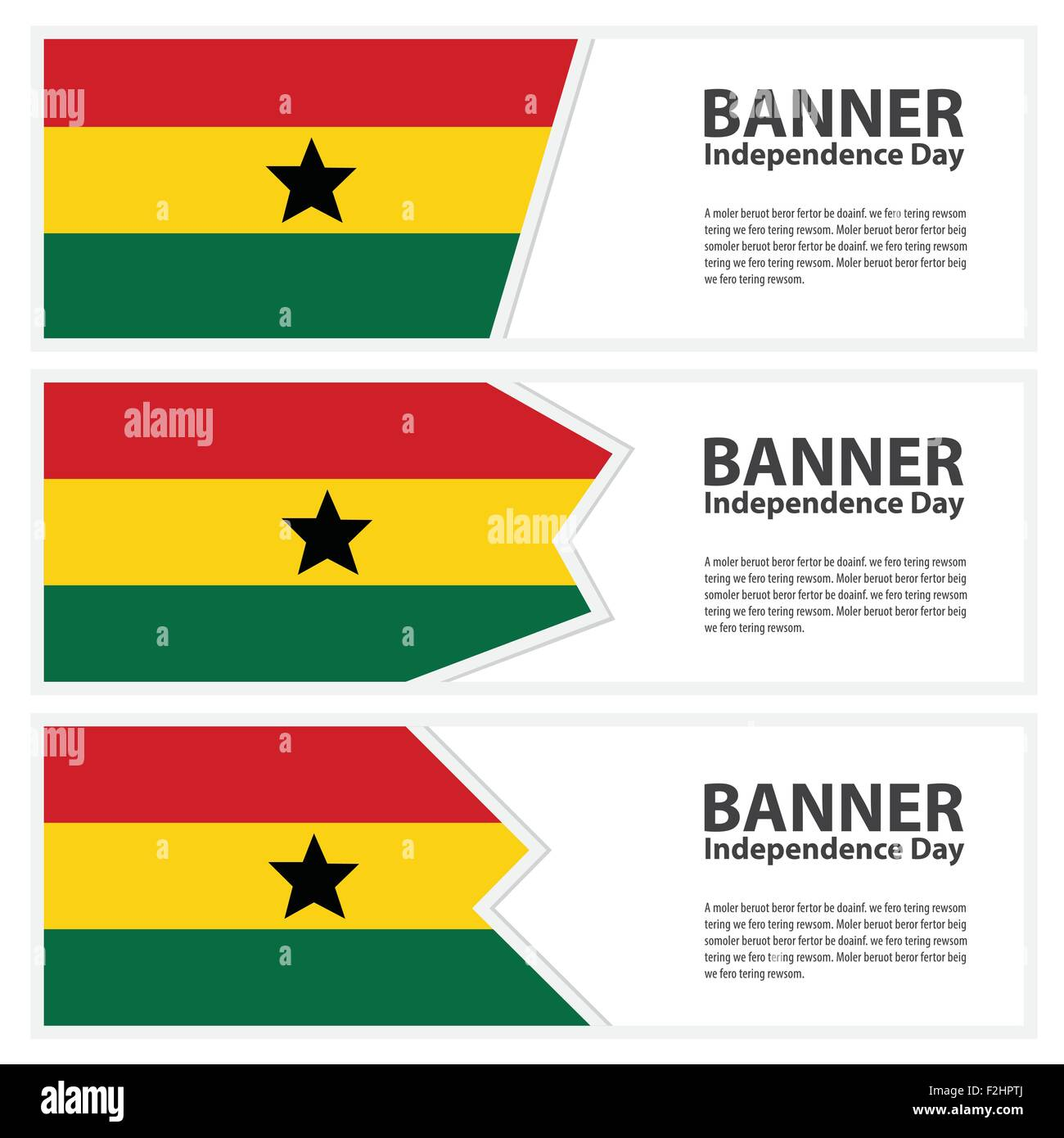 ghana Flag banners collection independence day - Stock Vector