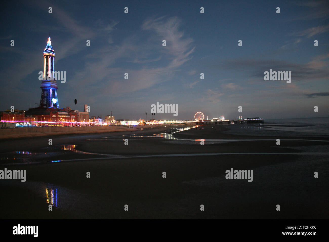 North Pier, Blackpool, UK. 19th September 2015. Blackpool Tower and the Promenade at Blackpool a wash with lights, - Stock Image