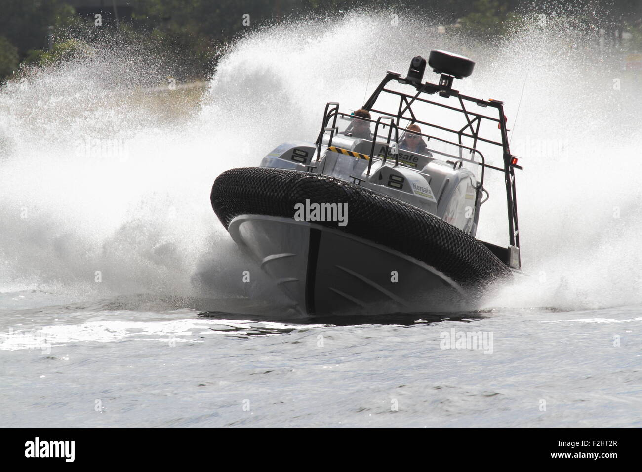 Norsafe Magnum Project Fast Rescue Boat being demonstrated during DSEI at Excel London in September 2015. - Stock Image