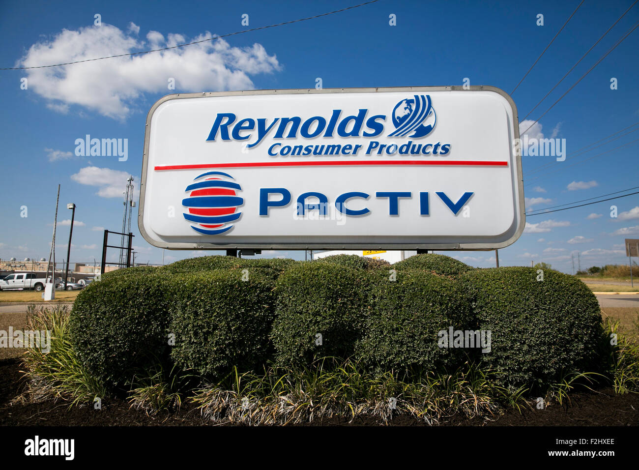 A logo sign outside of a factory operated by Reynolds Consumer Products and Pactiv in Temple, Texas on September - Stock Image