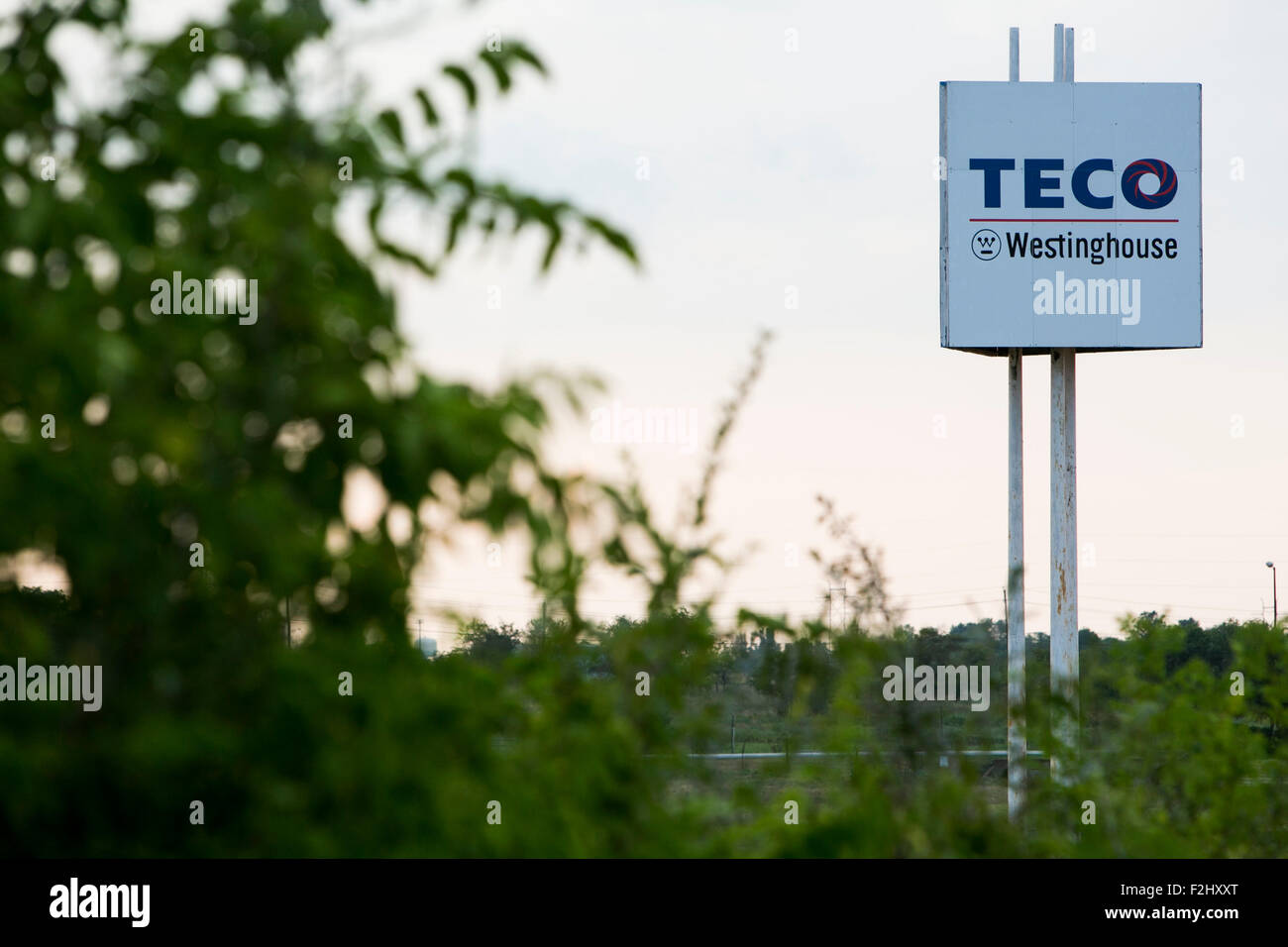 A logo sign outside of a facility occupied by the Teco Westinghouse Motor Company in Round Rock, Texas on September - Stock Image