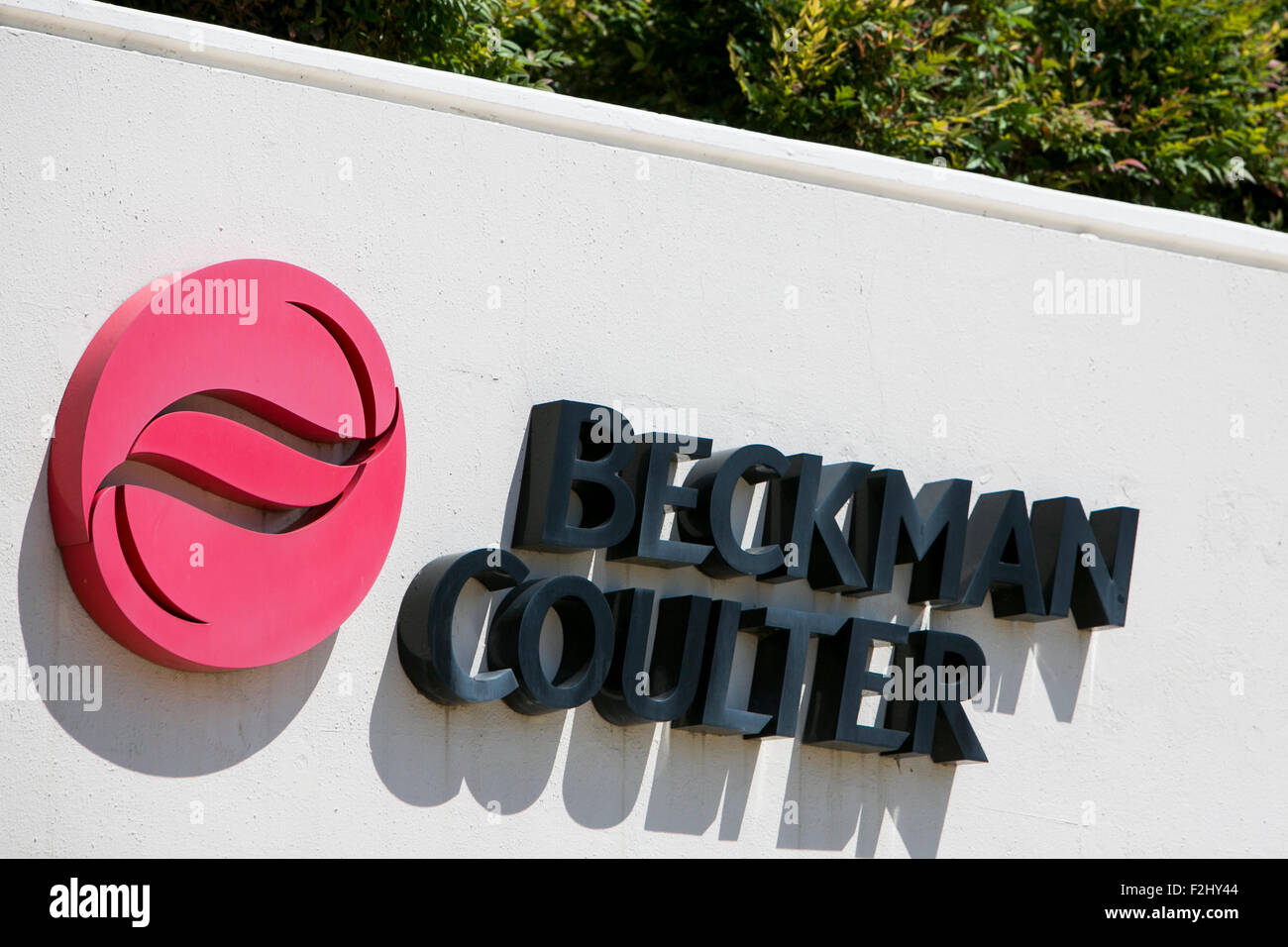 A logo sign outside of a facility occupied by Beckman Coulter Inc., in Irving, Texas on September 13, 2015. - Stock Image