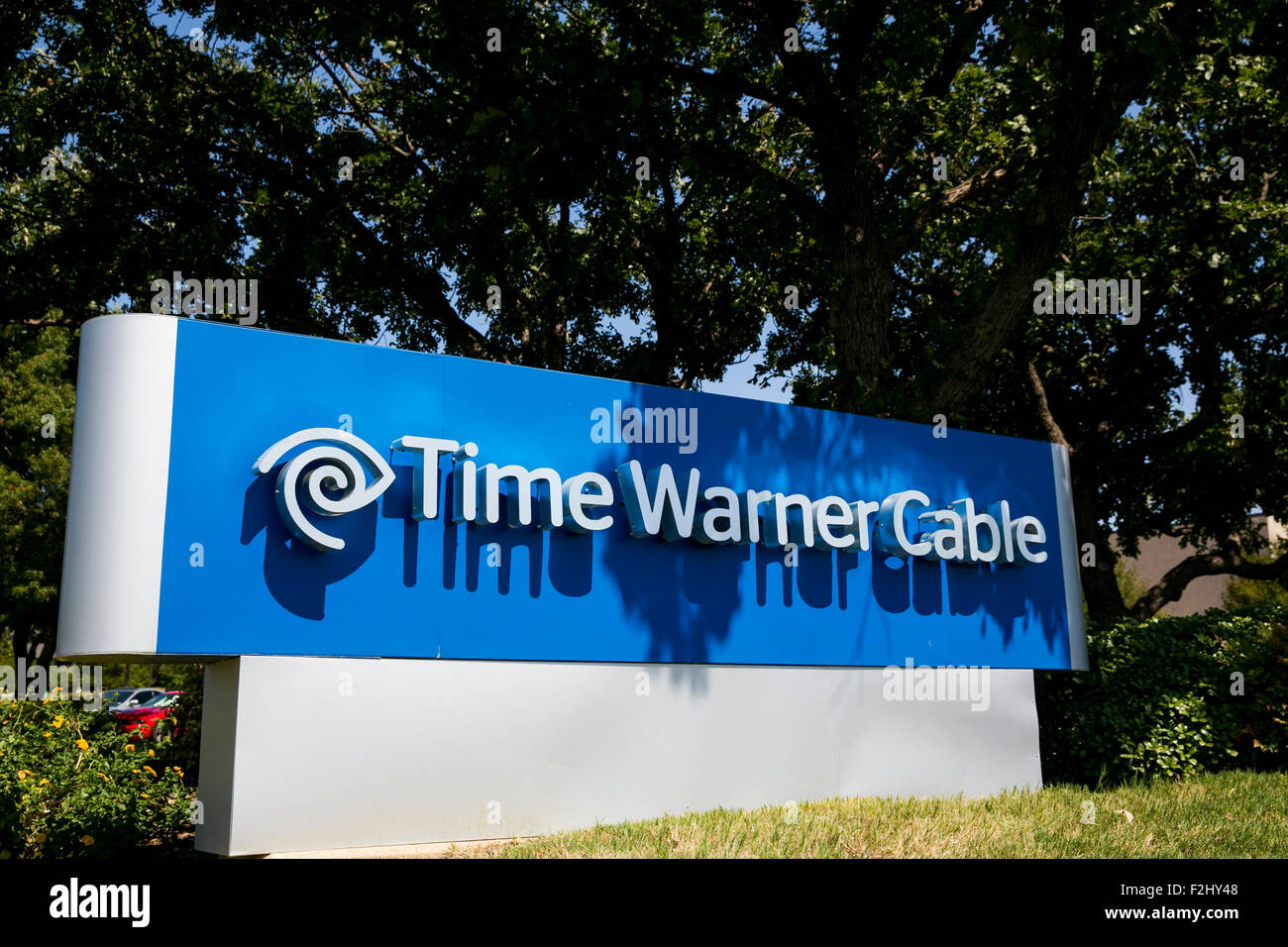 A logo sign outside of a facility occupied by Time Warner Cable Enterprises Inc., in Irving, Texas on September - Stock Image