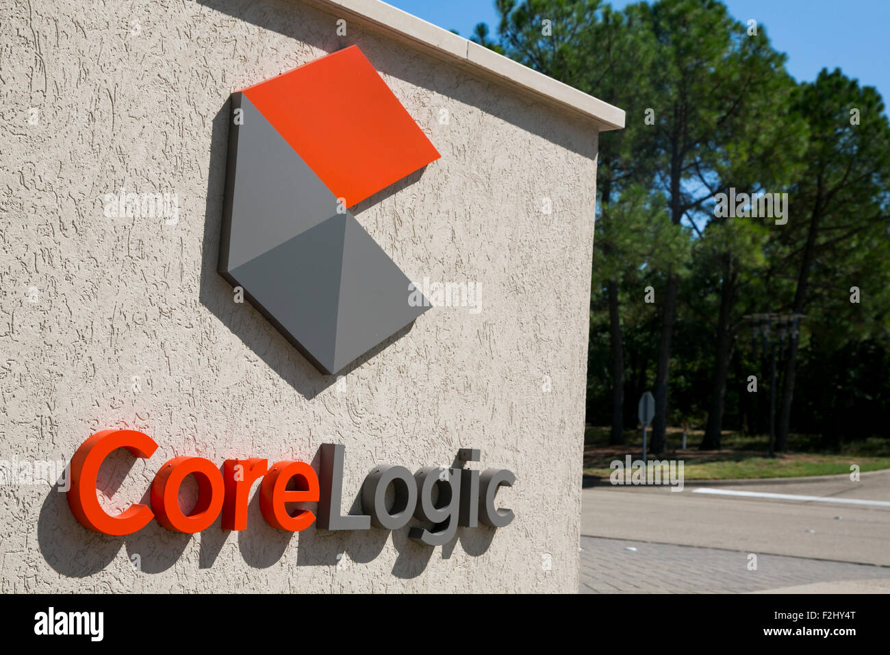 A logo sign outside of a facility occupied by CoreLogic, Inc., in Westlake, Texas on September 13, 2015. - Stock Image