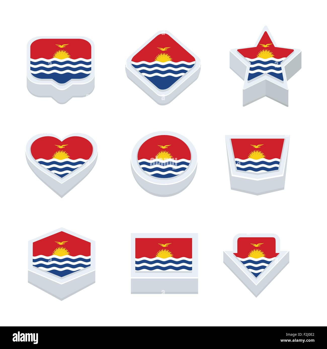 Kiribati flags icons and button set nine styles - Stock Image