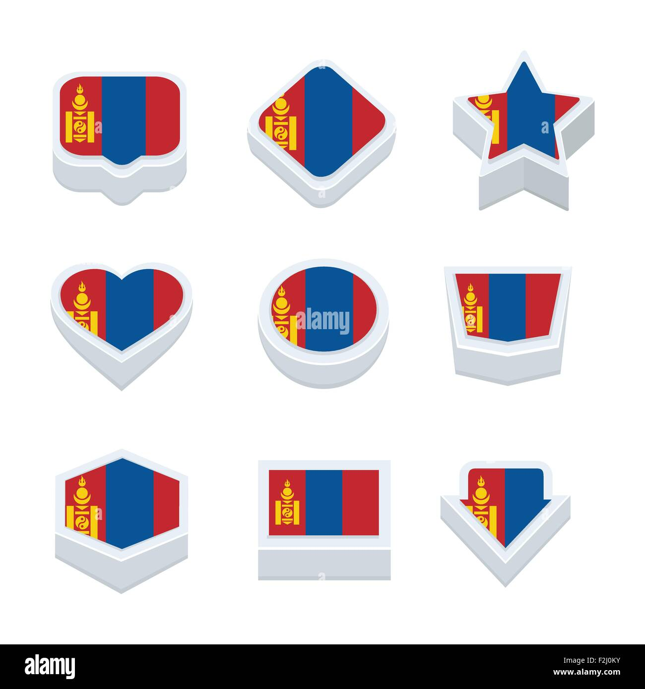 mongolia flags icons and button set nine styles - Stock Vector