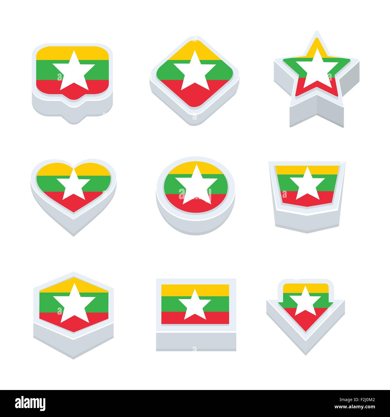 myanmar flags icons and button set nine styles - Stock Vector