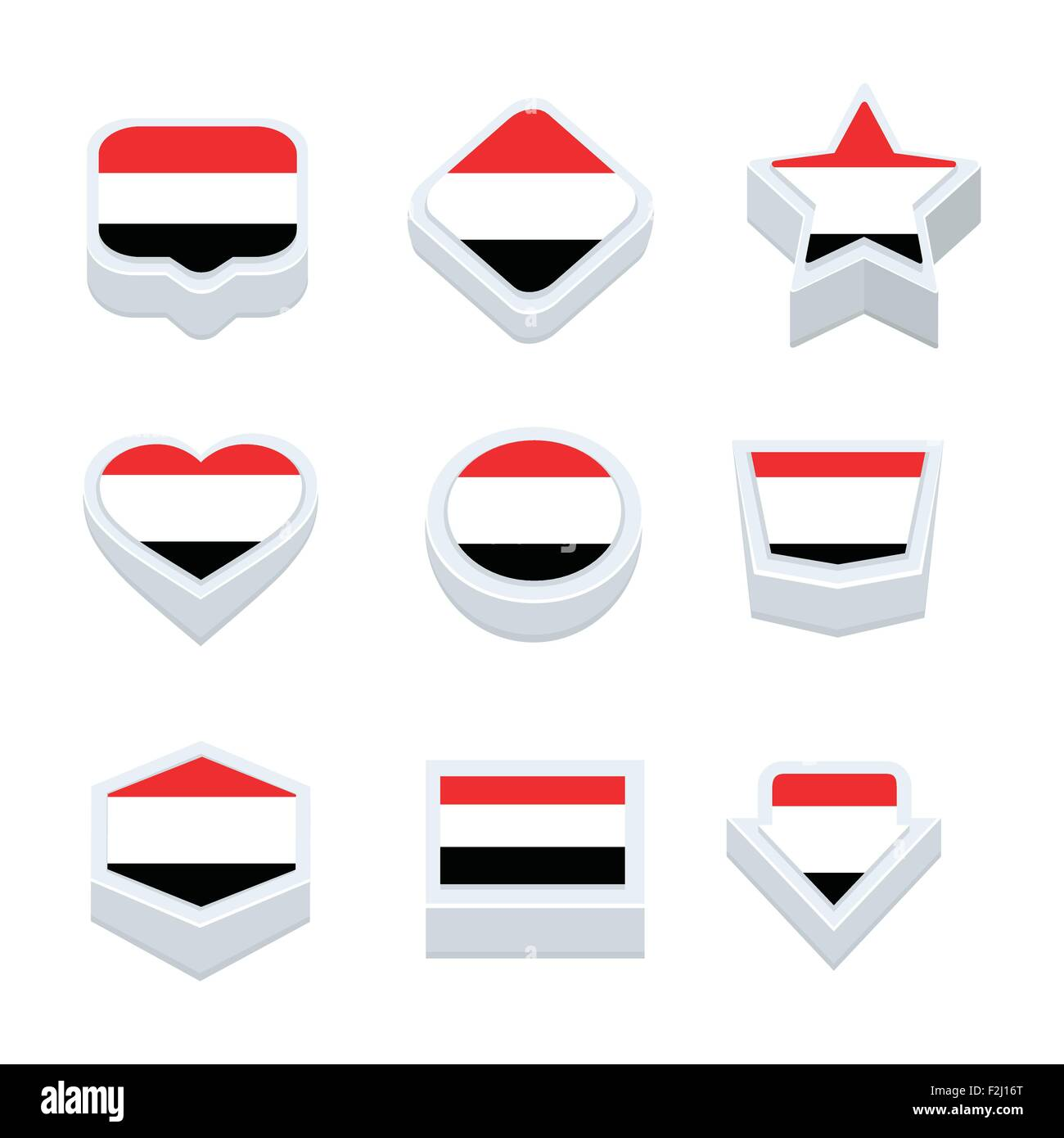 yemen flags icons and button set nine styles - Stock Vector