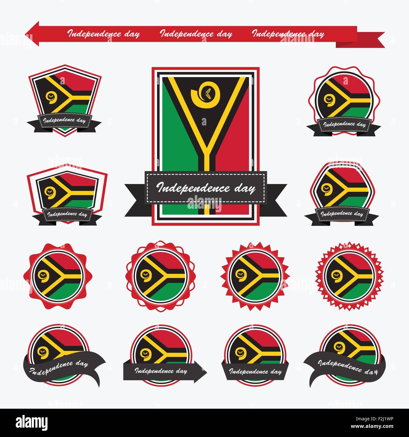 Vanuatu independence day flags infographic design - Stock Vector