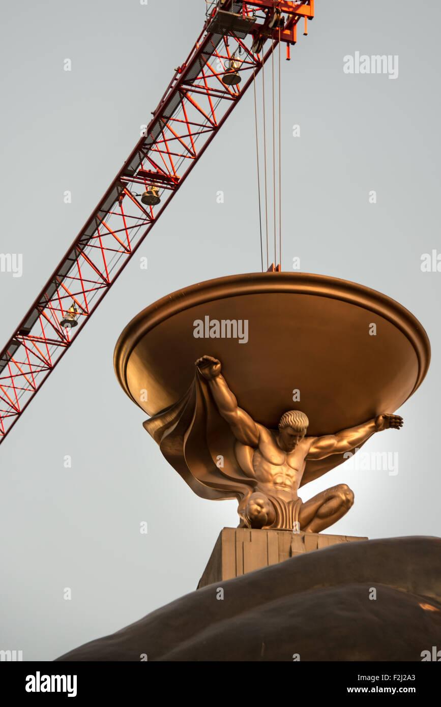Low angle view of a statue, MGM Grand Las Vegas, Las Vegas, Nevada, USA - Stock Image
