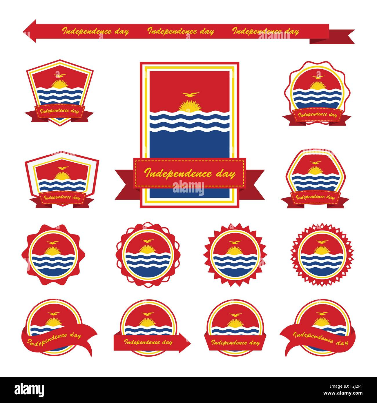 Kiribati independence day flags infographic design - Stock Image