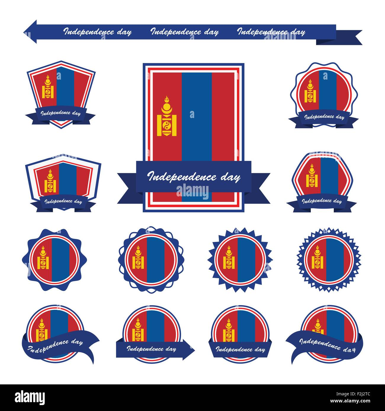 mongolia independence day flags infographic design - Stock Vector